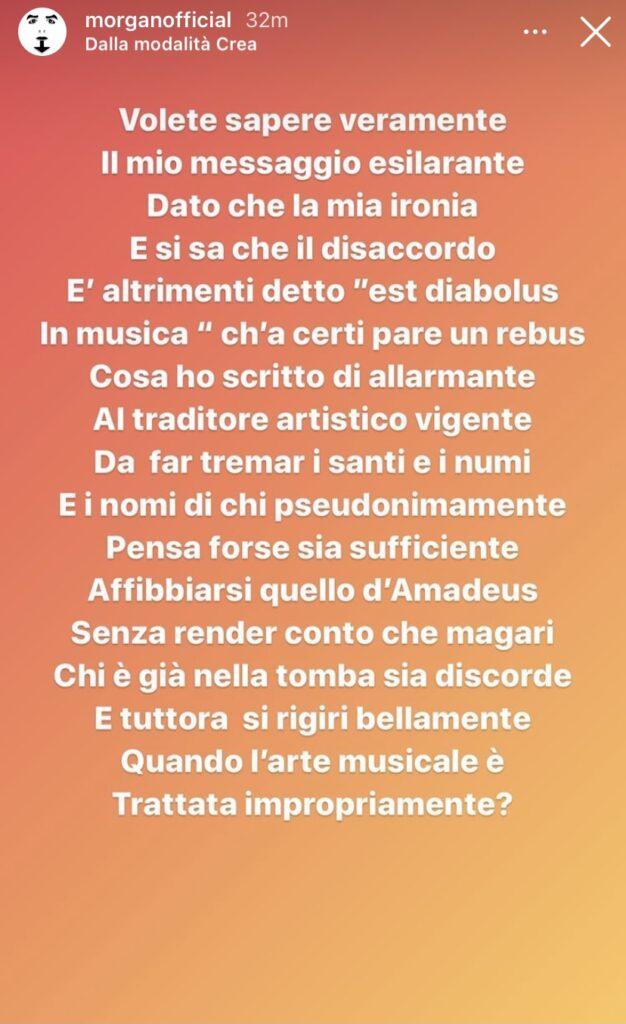 """Amadeus lo esclude dalla giuria di Sanremo Giovani, Morgan lo attacca sui social: """"traditore artistico"""" 3"""