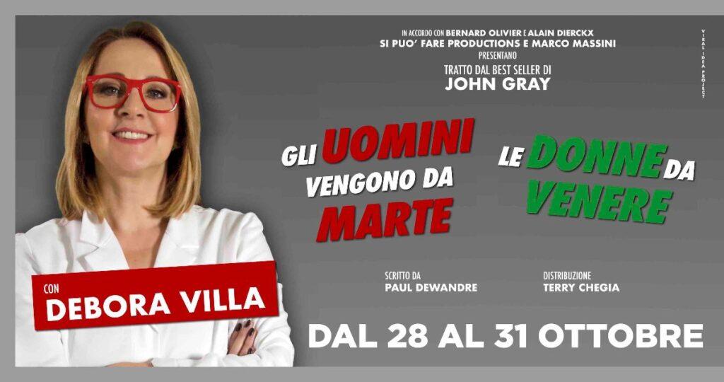 """Debora Villa, l'attrice torna a teatro da 28 al 31 ottobre con """"Gli uomini vengono da Marte, le donne da Venere"""""""